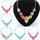 Crystal Flower Bib Statement Necklace Chunky Bubble Choker Collar Jewelry Chain