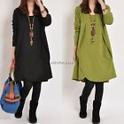 Womens Tops Long Sleeve Cotton Long Tunics Round Neck Tee Shirt Loose Blouses N4