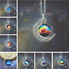 Women Galactic Glass Cabochon Pendant Silver-Tone Crescent Moon Necklace Jewelry