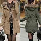 Womens Fur Collar Hooded High Waist Drawstring Thick Coat Long Jacket Parka New