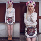 S M L XL Women Fashion Sexy Lace Crochet Sexy Sheer Embroidery Floral Shirt Tops