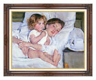 Mary Cassatt Breakfast in Bed Painting Reproduction Framed Canvas Wall Art Print