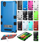 T-Mobile ZTE ZMAX Z970 Rubber IMPACT TUFF Hybrid KICKSTAND Case + Screen Guard