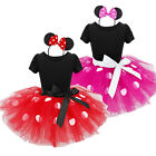 New Girls Kid Minnie Mouse Polka Dot Tutu Dress Up Party Fancy Costumes+Headband