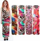 Bodycon Ladies Leopard Animal Feather Print Multi Colour Maxi Long Dress