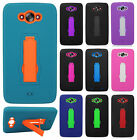 For Motorola Droid Turbo IMPACT HYBRID KICKSTAND Hard Rubber Case Phone Cover