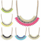 Women Fashion Crystal Chain Statement Bib Necklace Choker Chunky Jewelry Pendant