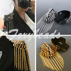 2x Punk Silver Golden Rivet Spike Studded Tassels Fringed Epaulette Shoulder DIY