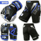 MMA Gloves Shorts UFC Cage Grappling Kickboxing Fight Gear Set Black White Blue