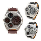 Oulm Analog Leather Strap Four Sub-dials Men Military Army Watch Compass T87S