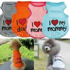 Summer Pet Puppy Dog Cat Love Mommy/Daddy T Shirt Vest Apparel Costumes Clothes