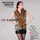 0241 Raccoon collar Rabbit Fur Vest Gilet Sleeveless Waistcoat Shrug Cardigan