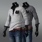 NEW Mens Casual Slim Fit T-shirts Collored Long Sleeve Lapel Polo Tee Shirt Tops