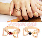 Korean Women Letter D Crystal Rhinestone Bead Finger Ring us6.5 Gift Adjustable