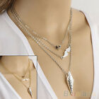 Excellent 3 Layer Chain Heart Pendants Womens Arrow Angel Wings Choker Necklace