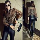 Stylish Women Retro Leopard Print Long Sleeve Casual Chiffon Blouse Top Shirt N4