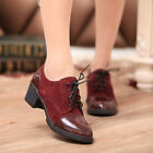 New Fashion Women's Patent Leather Lace Up Chunky High Heels Shoes Ankle Boots