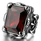 Stainless Steel Silver Huge Red Crystal Mens Ring Size 8 9 10 11 12 R422