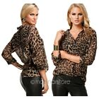 Sexy Hot Women V neck Leopard Print Chiffon Lady Long Sleeve Loose Blouse Shirt