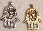 Jewish chamsa with heart / hand of fatima in pewter or gold finish