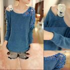 Hot Fashion Women's Vintage Long Sleeve Casual Tops Lace Shirt Blouse Sweater