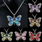 Fashion Crystal Butterfly Rhinestone Pendant Necklace Jewelry Long Sweater Chain