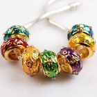 Charms Clear Rhinestones Dots Enamel Gold Tone Alloy Europe Beads For Bracelet