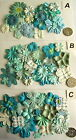 SCRAPBOOKING NO 77 - 16 MIXED PRIMA PAPER FLOWERS - 5 DIFFERENT PACKS AVAILABLE