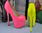Womens Ladies Fashion Platform Neon High heel shoes Leather Stilettos Pumps New