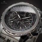 KS Luxury Mens Date Day 6 Hands Automatic Mechanical Stainless Steel Wrist Watch
