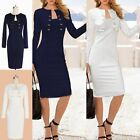 New Womens Ladies Long Sleeve Button Party Cocktail Bodycon Pencil Midi Dress