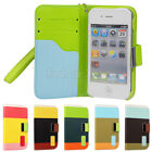 New Hybrid Leather Wallet Flip Stand Case Stand Cover For iPhone 4/4s 5/5s style