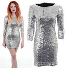 Ladies 3/4 Sleeve Shiny Silver Sequin Womens Bodycon Dress Size 8 - 14