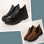 Martin boots Leopard fashion round toe Elastic Cloth Ankle boots women