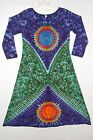 Women's TIE DYE Earth Sun Long Sleeve Dress hippie boho gypsy sm med lg xl tye