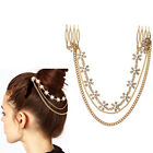 Fashion Personality multilayer alloy Artificial pearls crystal chain combs