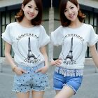 White Pleated Frill Eiffel Tower Letter Womens Graphic T-shirt Tops Tee Stretch