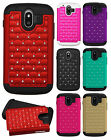 For AT&T ZTE Compel Z830 HYBRID IMPACT Diamond Case Phone Cover + Screen Guard