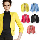 New Womens Ladies Stylish Casual Suit Coat Jacket Blazer Top Candy Color 2015