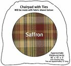 Saffron Chairpad with Ties by Park Designs, Deep Toned Country Plaid, 1 or Set