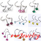 10pc Stainless Steel CZ Crystal Nose Ring Bar Stud Carved Barbell Body Piercing