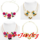 Enamel Acrylic Crystal Rose Flower Leaf Chunky Bead Choker Necklace Statement