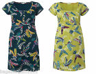NEW WHITE STUFF GREEN BLUE TEAL BLUE FLYING PARROTS SUMMER TUNIC DRESS SIZE 8-18