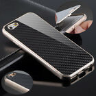 "Deluxe Aluminum Frame Carbon Fiber Back Case Cover For iPhone 6 4.7 & 5.5"" Perfe"