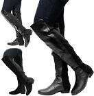 THIGH HIGH STRETCH CALF FLAT BOOTS LADIES WOMENS WIDE LEG OVER KNEE SHOES SIZE