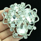 Drop Rhinestone Crystals Vintage Emerald Ribbon Brooch Pins Flower 7 Colors 6457