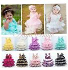 Baby Girl Kids Baptism Lace Tulle Flower Birthday Tea Party Tutu Dress Age 12M-3
