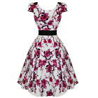 Hearts And Roses London White Pink Floral Classic Retro 50s Frock Tea Dress