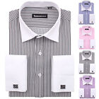 Elegant top quality white collar with cufflinks men's dress shirt
