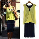 Fashion Women Chiffon Casual Lady Dress Bohemian Sleeveless Dresses T17S